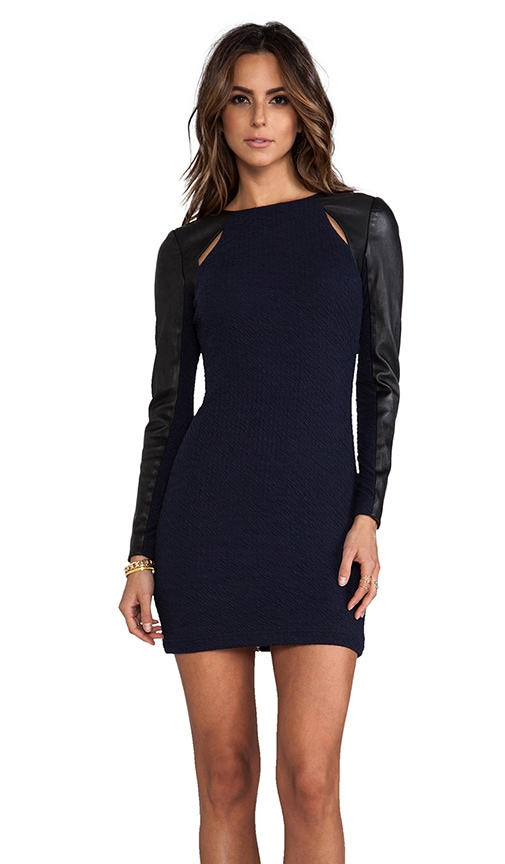 Leather Combo Sleeve Ponte Dress