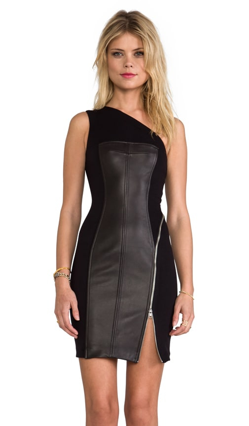 One Shoulder Leather Combo Dress