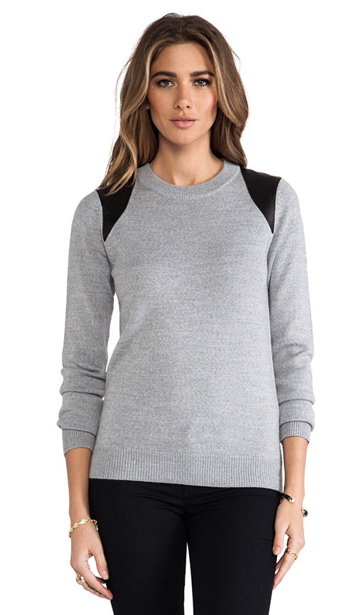 Leather Printed Paneled Crewneck Sweater