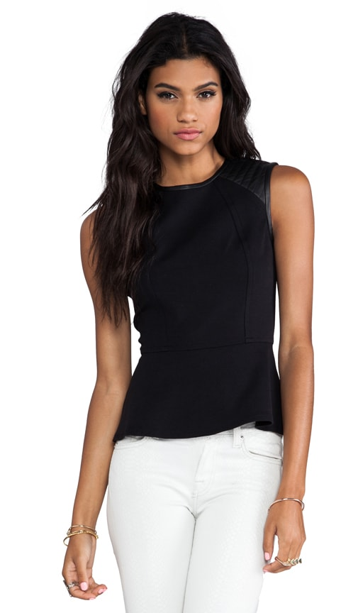 Quilted Leather Shoulder Peplum Top