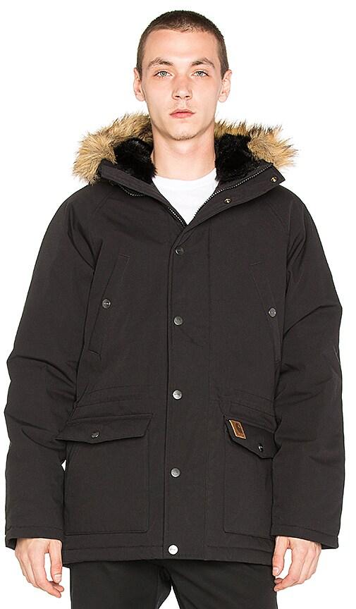 Carhartt WIP Trapper Faux Fur Parka in Black