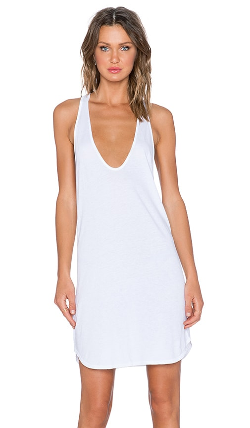 Daftbird Low Scoop Tank Dress in White