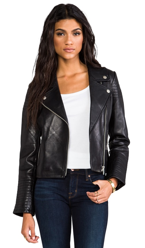 Daniel Leather Moto with Quilted Sleeves