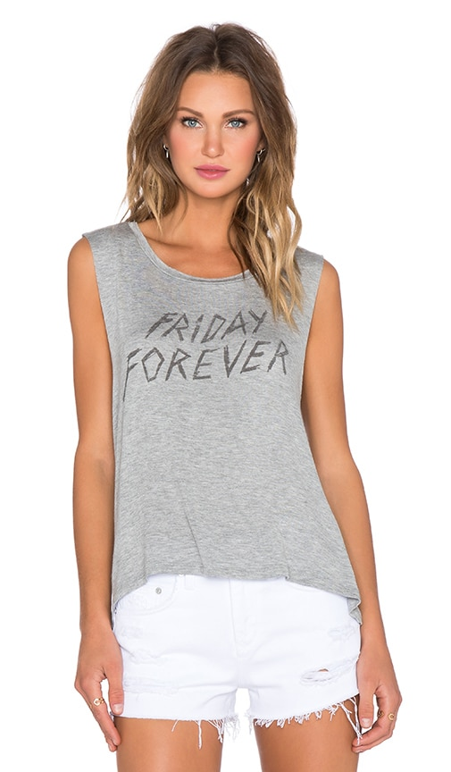 DAYDREAMER Friday Forever Muscle Tank in Heather Grey