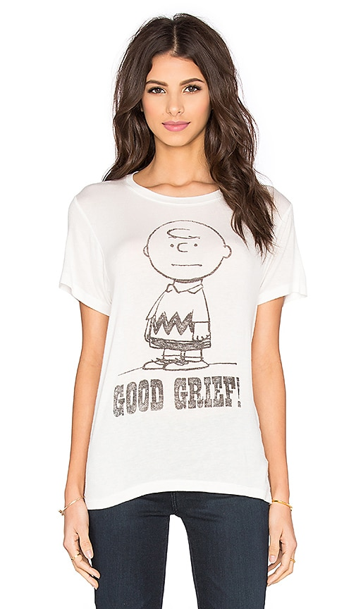 DAYDREAMER Charlie Brown Good Grief Tee in Cream