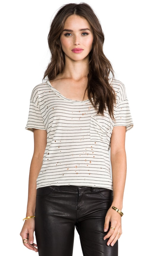 Stripe Destroyed Twist Neck Pocket Tee