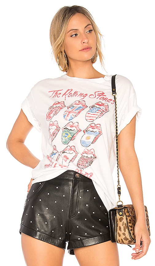 DAYDREAMER Rolling Stones Tour Boyfriend Tee in White