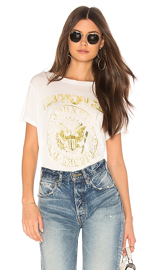 DAYDREAMER Ramones Seal Shimmer Short Sleeve Tee in Ivory