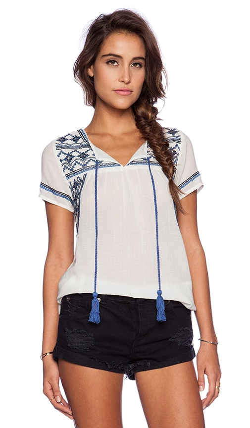 Deby Debo Orgeat Top in White & Blue