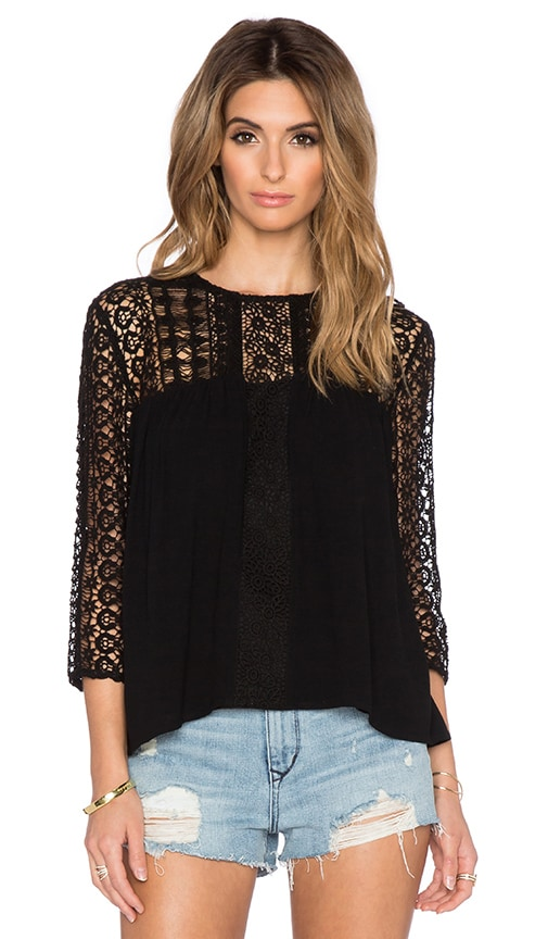 Deby Debo Natou Lace Top in Black