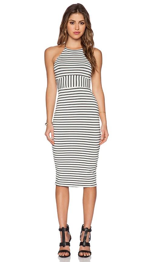 De Lacy Maisy Midi Dress in Black & White Stripe