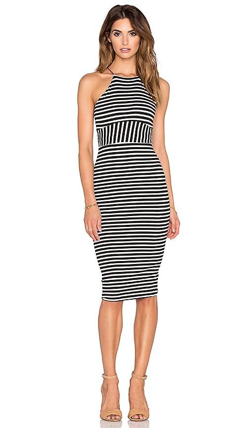 De Lacy Maisey Midi Dress in Black & White Stripe