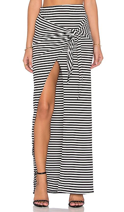 De Lacy Monica Maxi Skirt in Black & White Stripe
