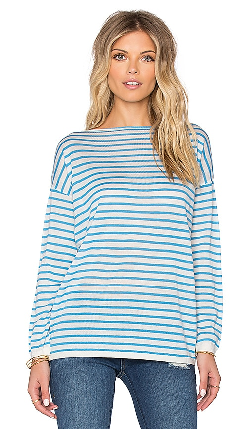 DemyLee Joselyn Merino Stripe Sweater in White & Blue
