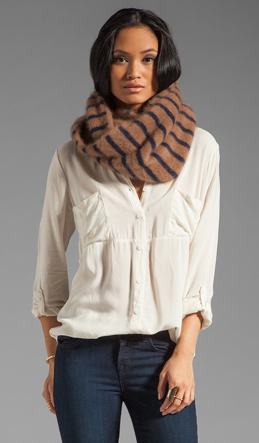 Striped Infinity Mohair Scarf