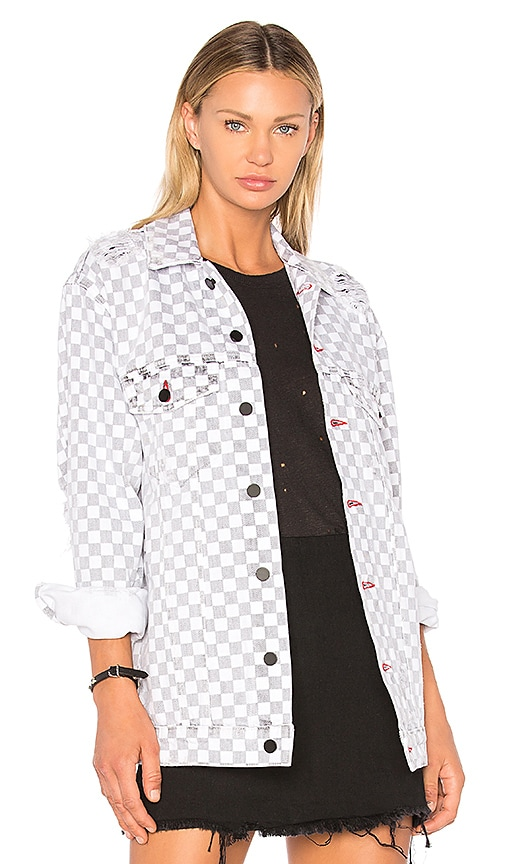 DENIM x ALEXANDER WANG Daze Checkerboard Jacket in White & Black