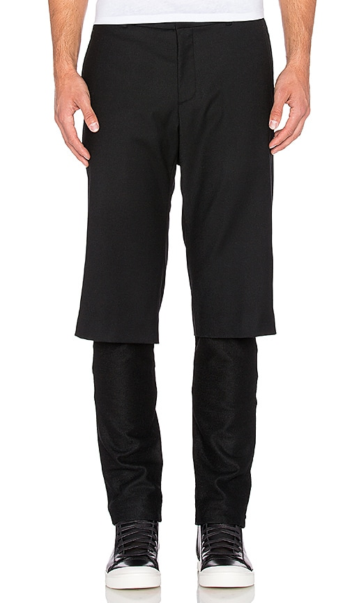 D. Gnak Short Layered Double Line Pant in Black