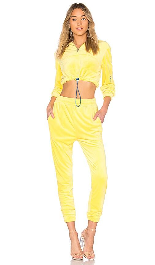 Guizio Velour Track Suit in Yellow. - size L (also in M,S,XS) Danielle Guizio