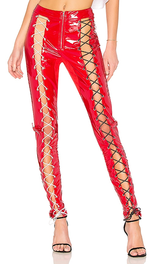 DANIELLE GUIZIO Patent Lace Up Pant in Red