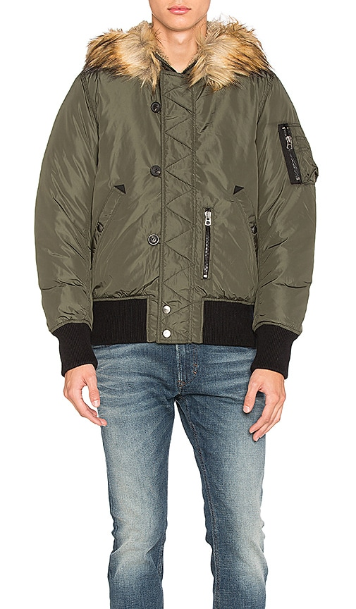 Diesel Esk Jacket with Faux Fur in Green