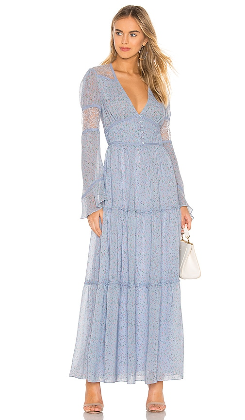 Divine Heritage Button Up Maxi Dress in Blue Skies | REVOLVE