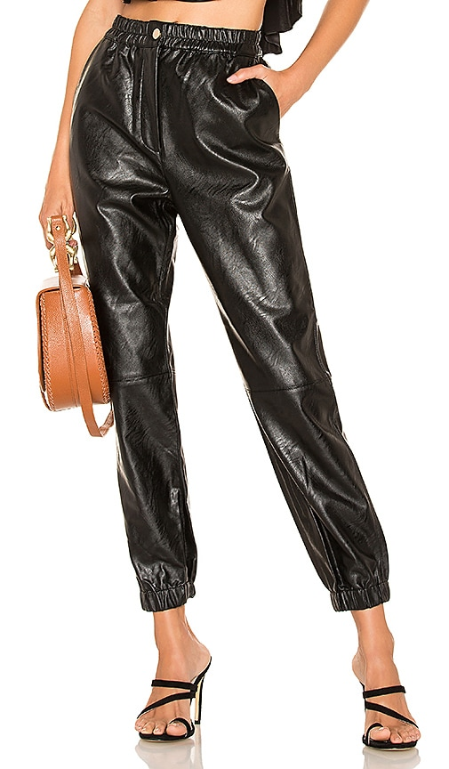 Fly Front Faux Leather Pant