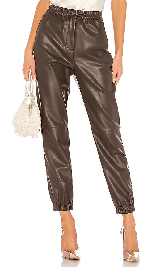 Vegan Leather Fly Front Sweatpant