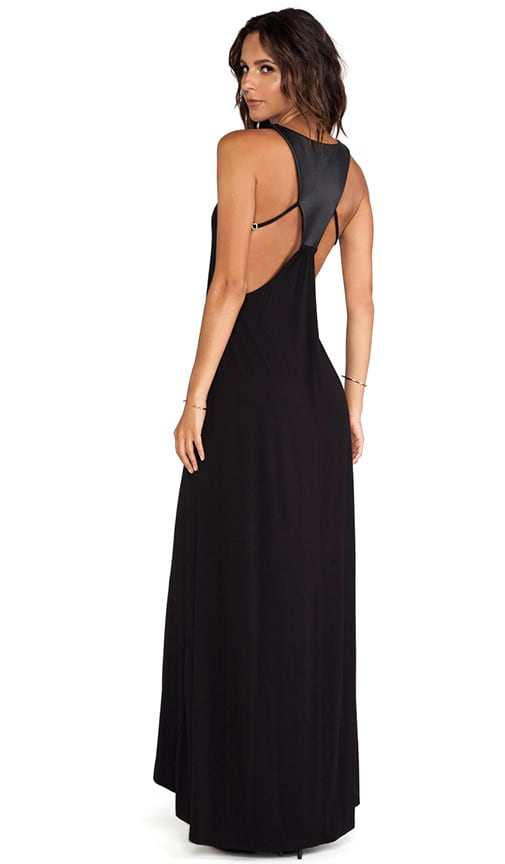Leather Panel Back Maxi Dress