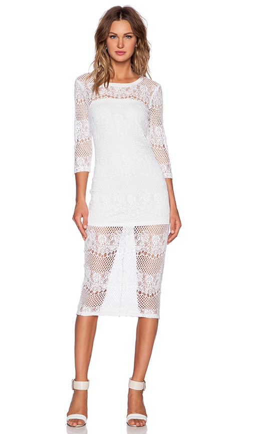 David Lerner Lace Midi Dress in Soft White