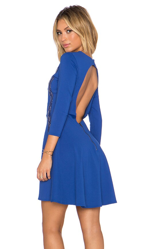 David Lerner x Chiqui Delgado Lace Inset Dress in Mediterranean Blue