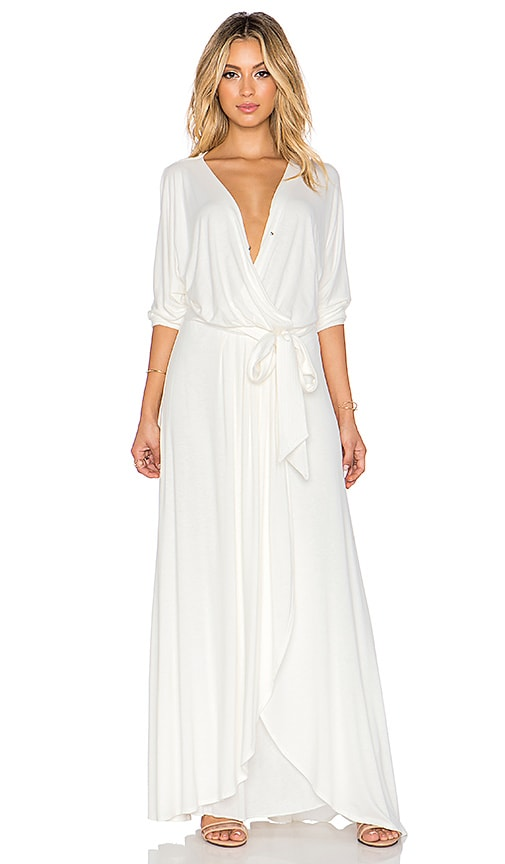 David Lerner x Chiqui Delgado Belted Wrap Maxi Dress in White