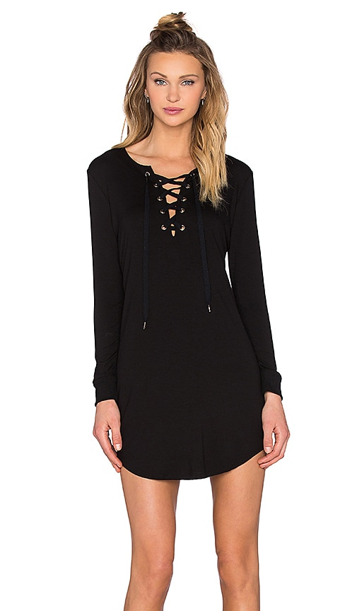 David Lerner Lace Up Long Sleeve Dress In Classic Black Revolve
