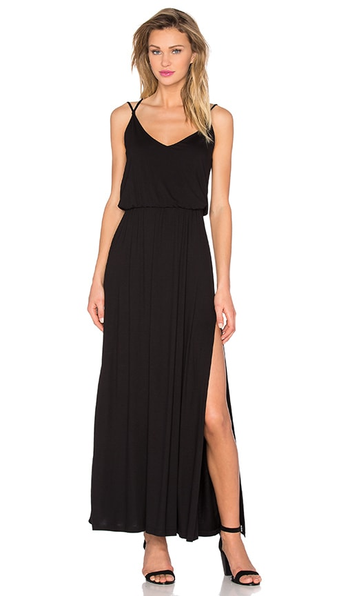 David Lerner Criss Cross Maxi Dress in Black