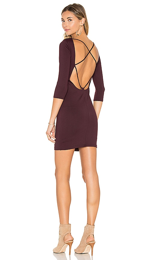 David Lerner Back Strappy 3/4 Sleeve Dress in Wine
