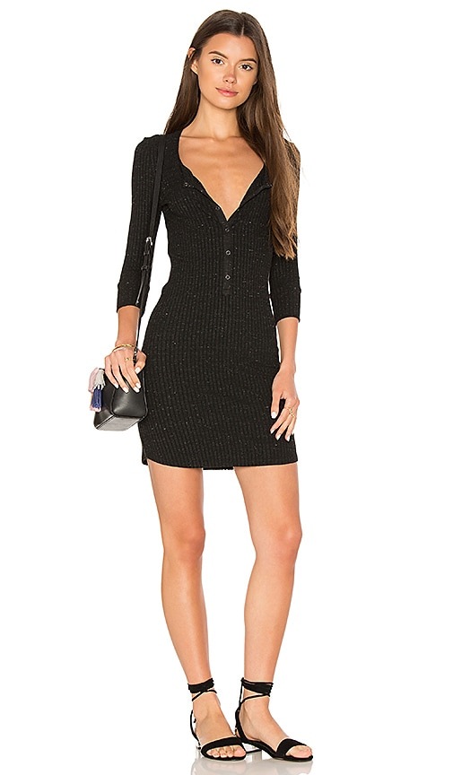 David Lerner Henley Tee Dress In Classic Black Revolve