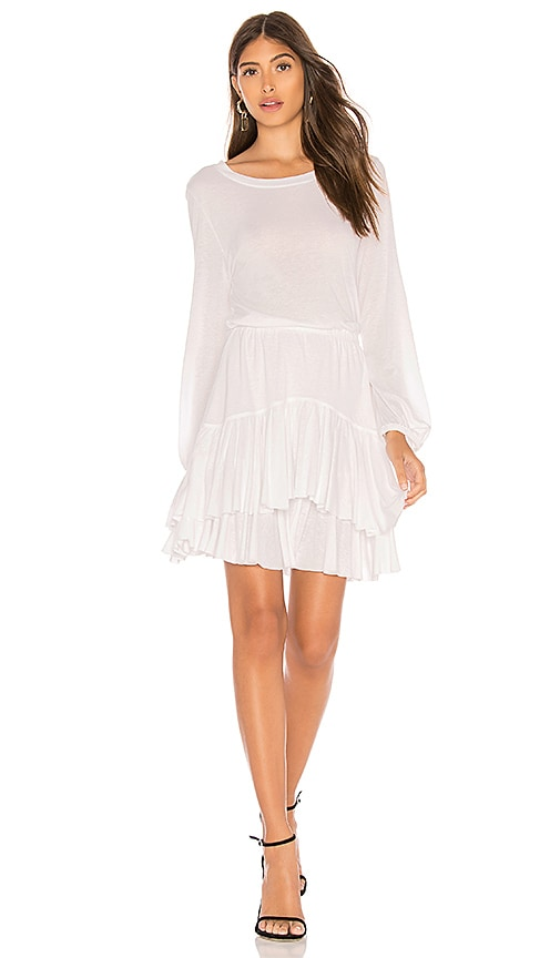 David Lerner Long Sleeve Dress With Tiered Ruffle in White
