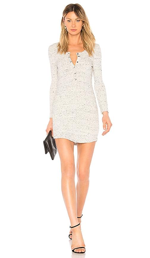 David Lerner Long Sleeve Henley T Shirt Dress in Light Gray