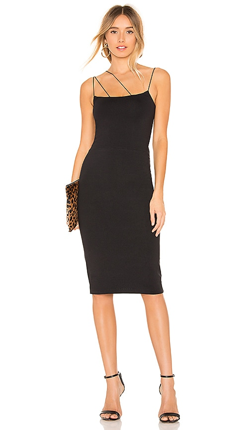 286eb29d0 David Lerner Asymmetrical Strap Midi Dress in Black | REVOLVE