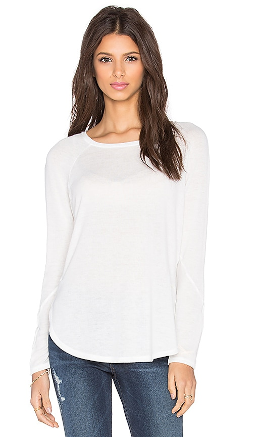David Lerner Seamed Raglan Sweater in White