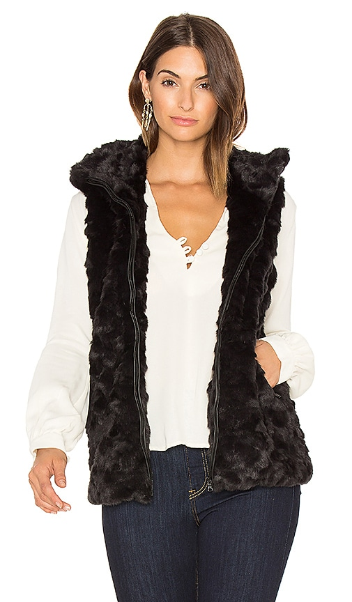 David Lerner Caroline Faux Fur Vest in Black