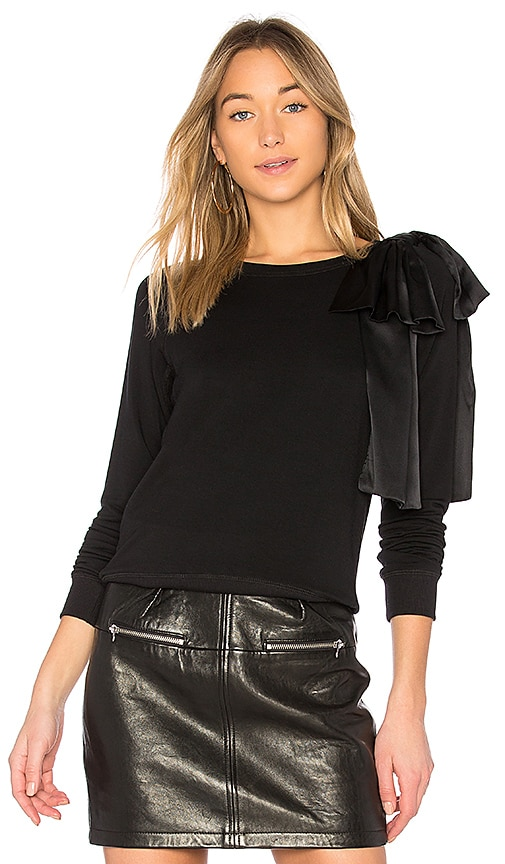 David Lerner Silk Bow Sweatshirt in Black