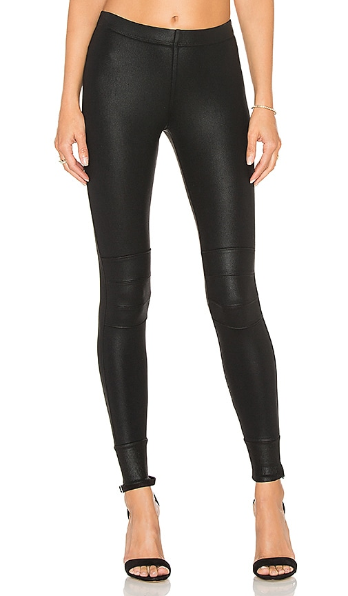 David Lerner Coated Moto Legging in Black