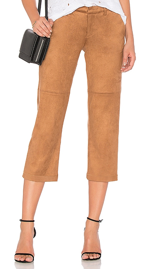 David Lerner Suede Cropped Pant in Brown