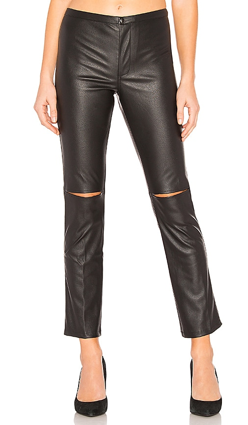 Skinny Split Knee Faux Leather Pant