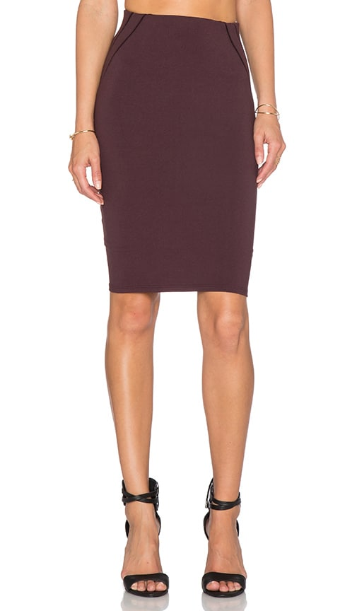 David Lerner Stitched Detail Pencil Skirt in Wine