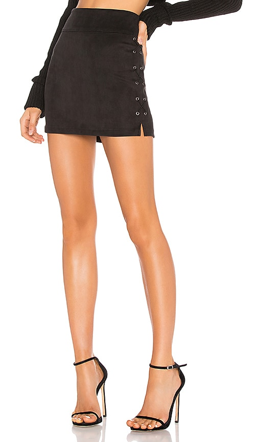 Wax Cord Suede Lace Up Skirt