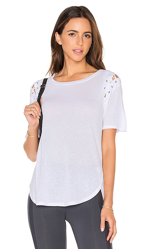 David Lerner Lace Up Sleeve Top in White