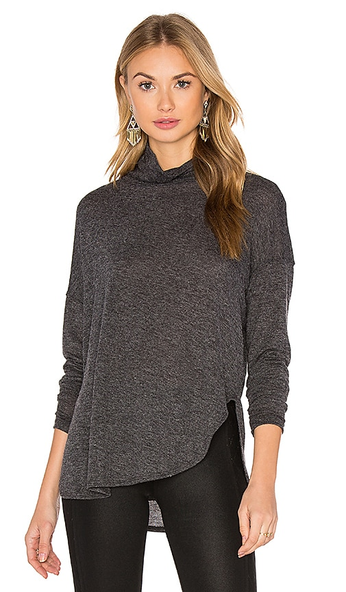 David Lerner Long Sleeve Turtleneck Tee in Charcoal