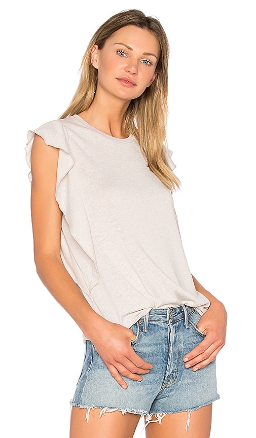 David Lerner Ruffle Tank in Light Gray