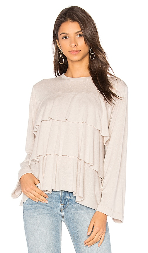 David Lerner Tiered Ruffle Top in Beige
